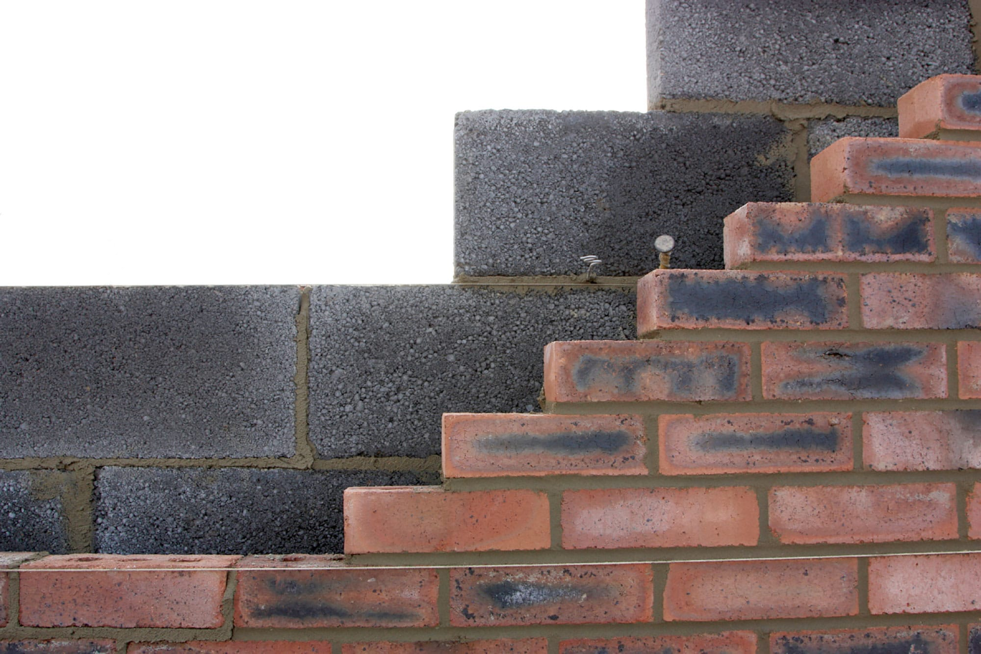 Brick and breeze block wall