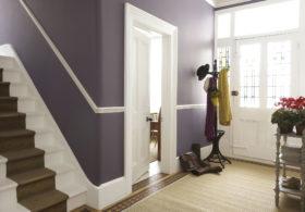 purple walls hallway design
