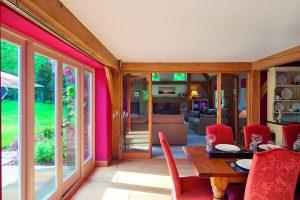 Oak framed dining area