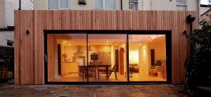 Contemporary extension to Georgian Townhouse in Bristol. Clad in timber