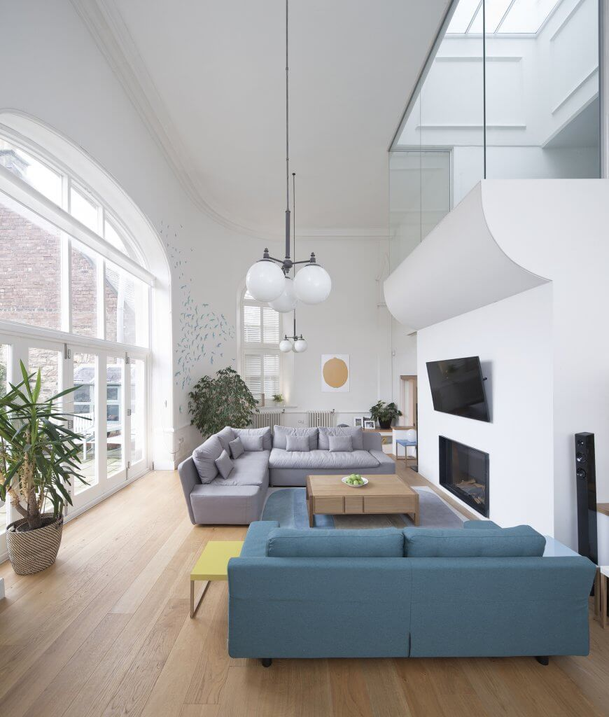 Double height living space with glazing