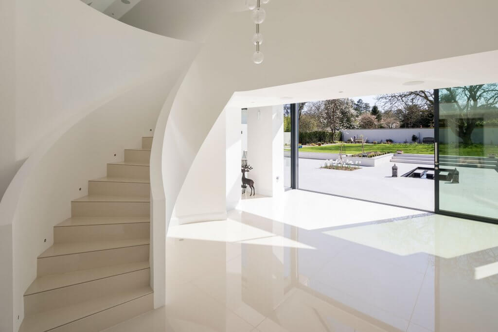 Sliding glazed doors in the contemporary entrance hall