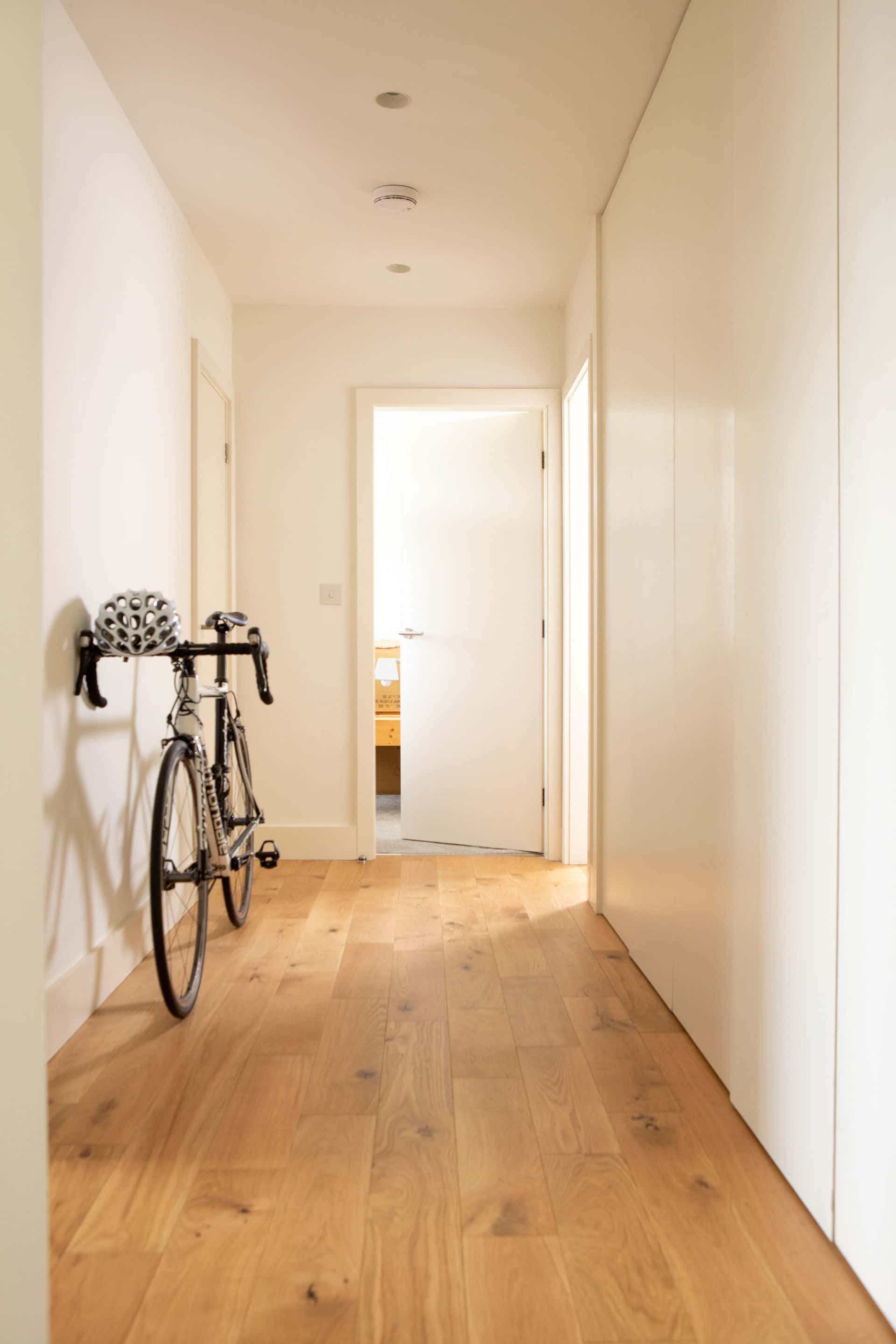 Wide corridor with timber planks