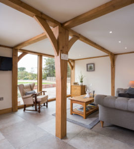 Living area with exposed beams