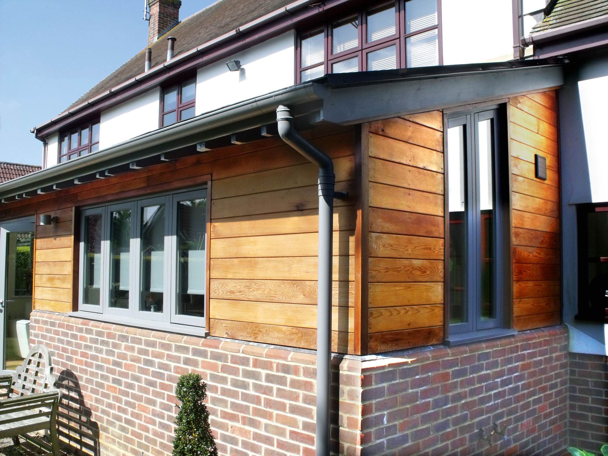 House with timber extension