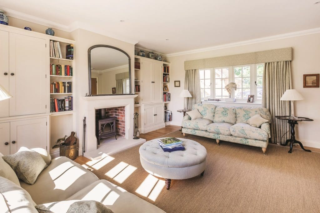 Light-filled living room with traditional character